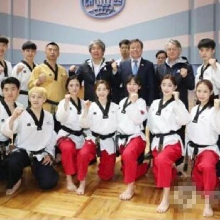 韓跆拳道示範團在平壤演出