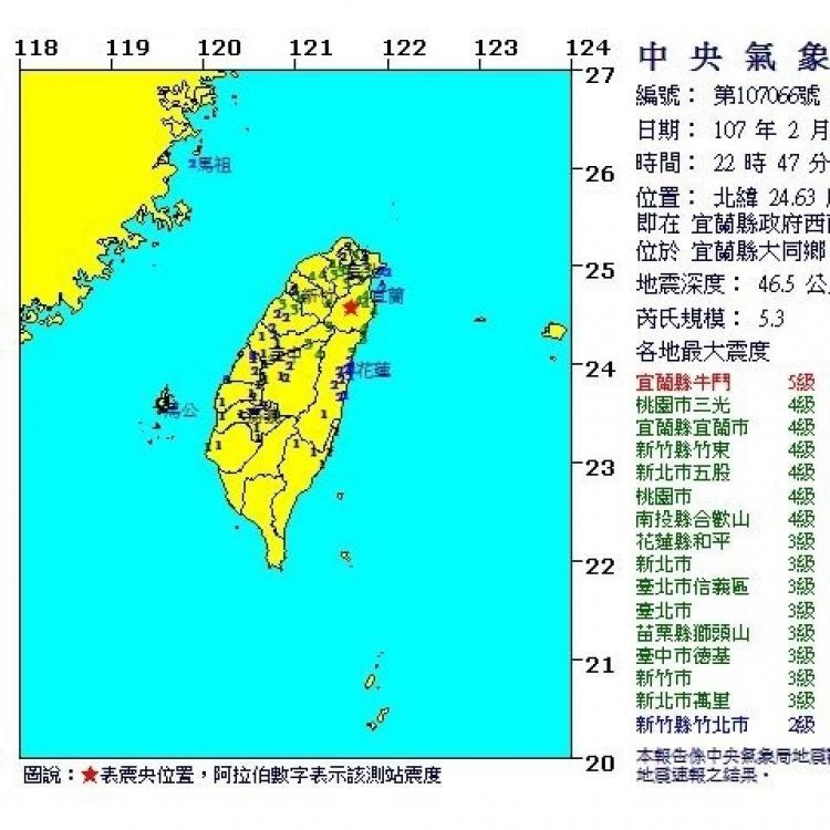 台宜蘭縣5.3級地震