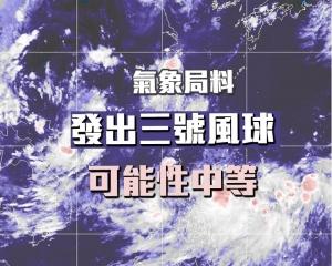 氣象局料發出三號風球可能性中等