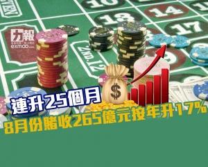 8月份賭收265億元按年升17%