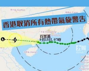 香港取消所有熱帶氣旋警告