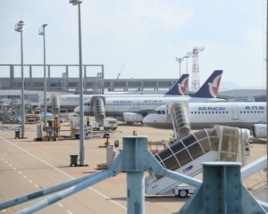 澳門機場停機坪出現水浸