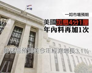 聯儲局預測美今年經濟增長3.1%