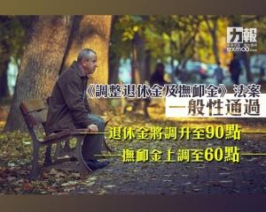 退休金將調升至90點