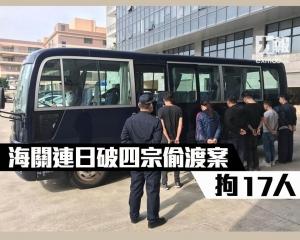 海關連日破四宗偷渡案拘17人