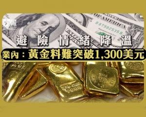業內:黃金料難突破1,300美元