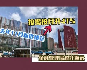 去年11月新批樓花按揭按月升41%