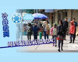 冷鋒殺到 周四最低氣溫13℃