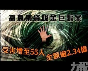 受害增至55人 金額逾2.34億