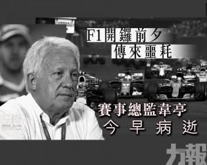 賽事總監韋亭今早病逝