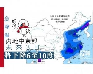 【急降温】內地中東部未來3日將跌6至10度