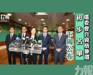 選委會合資格參選初步名單下周公布