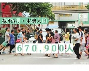 本澳至3月底人口約67萬人