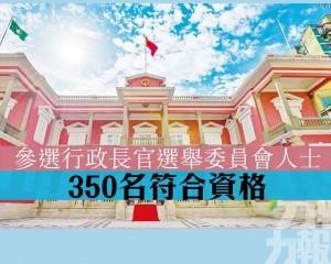 350名參選行政長官選舉委員會人士符合資格
