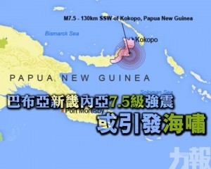 巴布亞新畿內亞7.5級強震 或引發海嘯