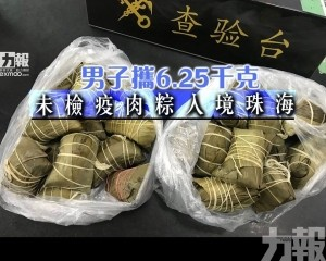 男子攜6.25千克未檢疫肉粽入境珠海