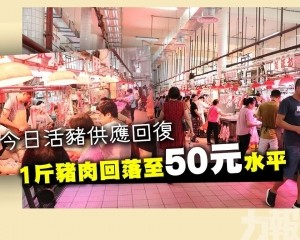 1斤豬肉回落至50元水平