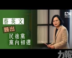 蔡英文勝出民進黨黨內初選