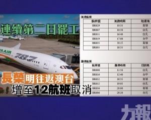 長榮明往返澳台增至12航班取消