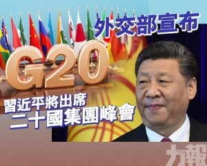 習近平將出席二十國集團峰會