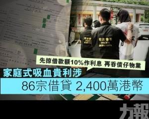 家庭式吸血貴利涉86宗借貸 2,400萬港幣