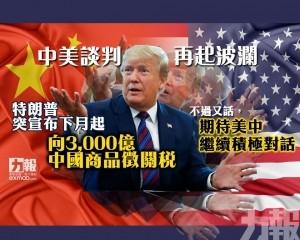 特朗普突宣布下月起向3,000億中國商品徵關稅