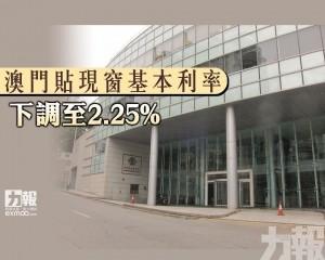 澳門貼現窗基本利率下調至2.25%
