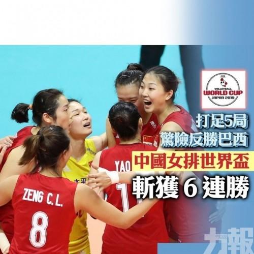中國女排世界盃斬獲6連勝