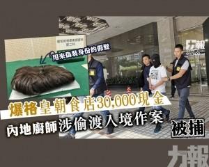內地廚師涉偷渡入境作案被捕