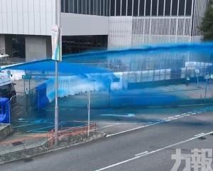 水炮車多度發射藍色水柱