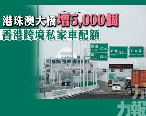 港珠澳大橋增5,000個香港跨境私家車配額