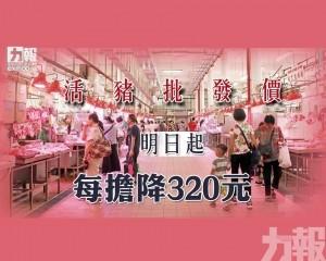 活豬批發價明日起每擔降320元