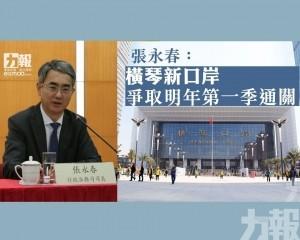 張永春:橫琴新口岸爭取明年第一季通關