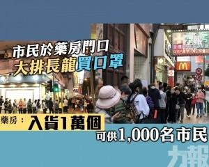 藥房:入貨1萬個 可供1,000名市民